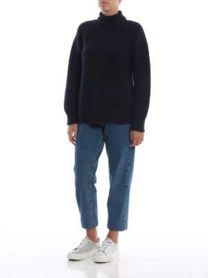 DONDUP: maglia a collo alto e polo online - Dolcevita blu scuro in misto alpaca