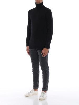 DONDUP: maglia a collo alto e polo online - Dolcevita nera in morbida lana merino