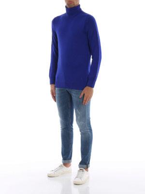 DONDUP: maglia a collo alto e polo online - Dolcevita blu in morbida lana merino