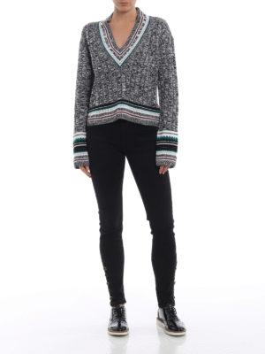 DONDUP: maglia collo a v online - Pull a V in lana mélange con borchie