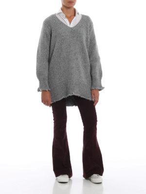 DONDUP: maglia collo a v online - Pesante maglione in misto alpaca melange