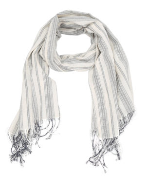 Dondup: scarves - Cotton canvas fringes scarf