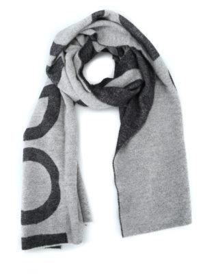 DONDUP: sciarpe e foulard - Maxi sciarpa logo in misto lana bicolore