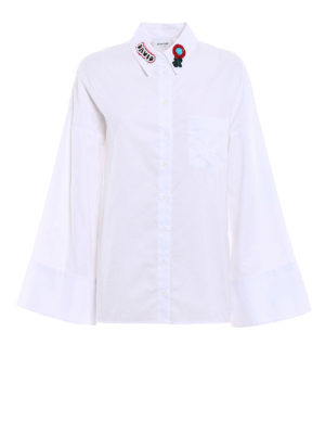 Dondup: shirts - Flared sleeved white Oxford shirt