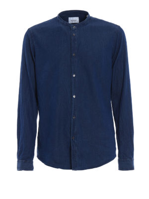 Dondup: shirts - Guru Piping cotton chambray shirt