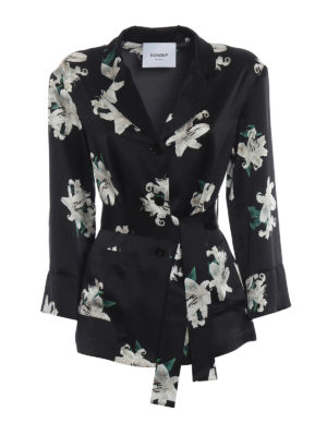 Dondup: shirts - Lily print silk belted shirt