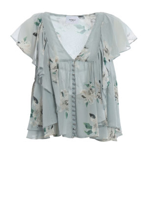 Dondup: shirts - Lily print silk sleeveless shirt