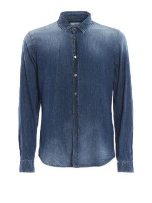 DONDUP: camicie - Camicia New Neck in denim tinto in capo
