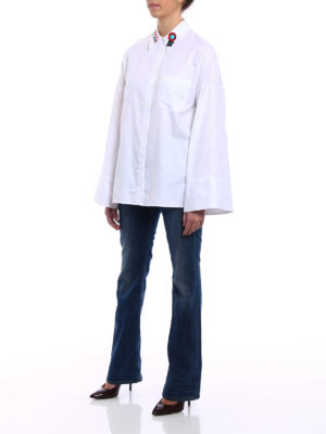 Dondup: shirts online - Flared sleeved white Oxford shirt
