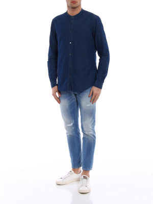 Dondup: shirts online - Guru Piping cotton chambray shirt