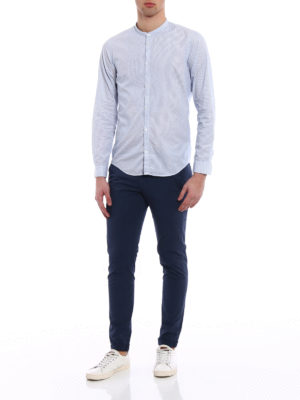 Dondup: shirts online - Guru Piping stripe cotton shirt