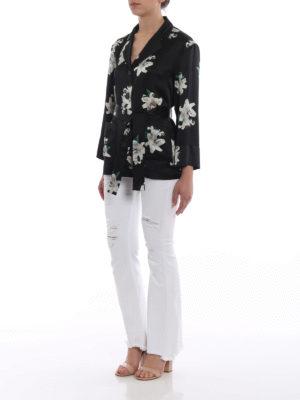 Dondup: shirts online - Lily print silk belted shirt