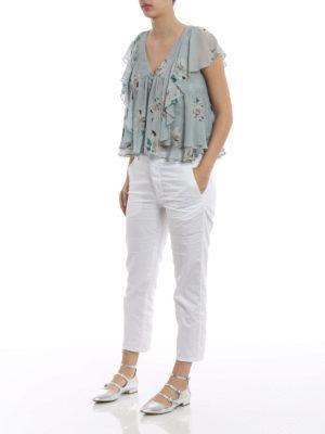 Dondup: shirts online - Lily print silk sleeveless shirt