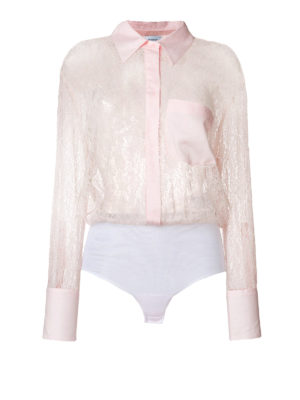 Dondup: shirts - Pink lace bodysuit shirt