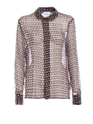 Dondup: shirts - Sheer patterned silk shirt