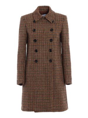 Dondup: short coats - Houndstooth wool tweed coat