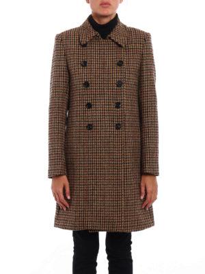 Dondup: short coats online - Houndstooth wool tweed coat