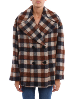 Dondup: short coats online - Wool and alpaca check print peacoat