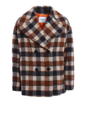 Dondup: short coats - Wool and alpaca check print peacoat