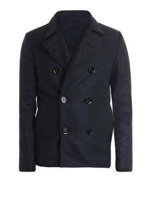 DONDUP: cappotti corti - Cappotto corto in lana e alpaca blu scuro