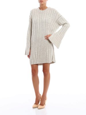 Dondup: short dresses online - Drilled lurex knitted dress