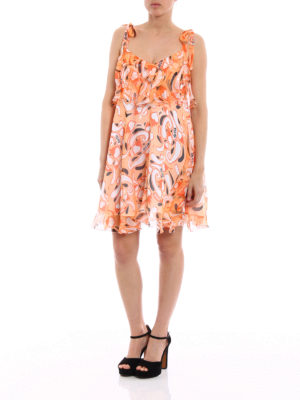 Dondup: short dresses online - Silk chiffon flounced dress