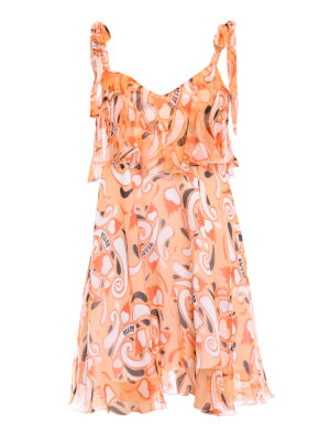 Dondup: short dresses - Silk chiffon flounced dress
