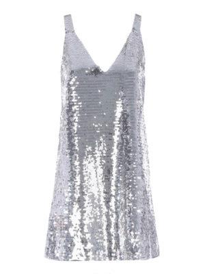 Dondup: short dresses - Silver-tone sequined dress