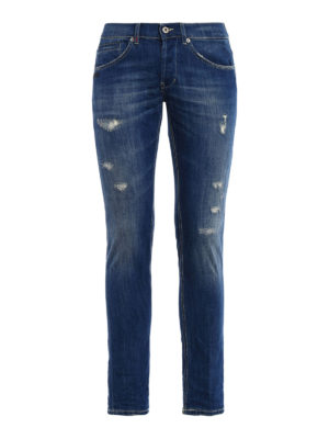 Dondup: skinny jeans - George yellow stitched skinny jeans