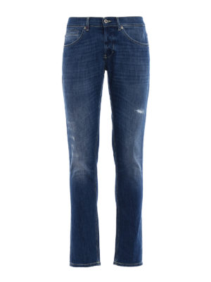 Dondup: skinny jeans - George yellow stitchings jeans