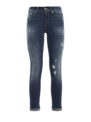DONDUP: jeans skinny - Jeans Monroe a vita bassa in denim strappato