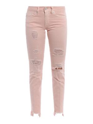 Dondup: skinny jeans - Monroe pink destroyed crop jeans