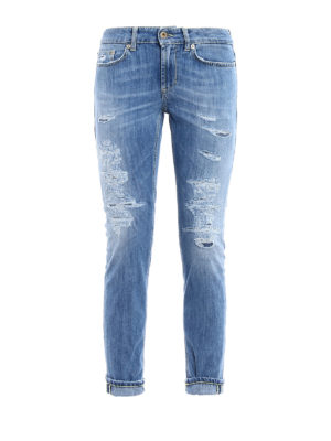 Dondup: skinny jeans - Monroe worn out low waist jeans