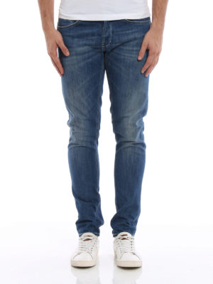 Dondup: skinny jeans online - George jeans with yellow stitching