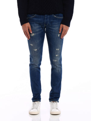 Dondup: skinny jeans online - George yellow stitched skinny jeans