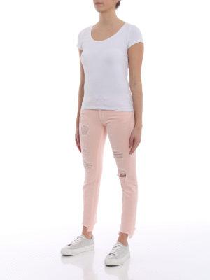 Dondup: skinny jeans online - Monroe pink destroyed crop jeans