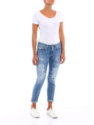 Dondup: skinny jeans online - Monroe worn out low waist jeans