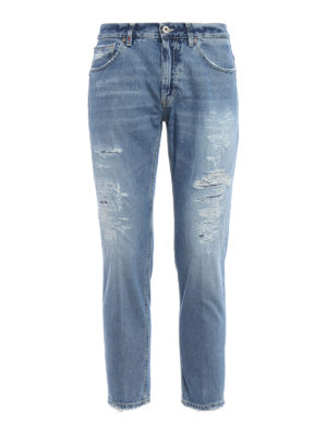 Dondup: straight leg jeans - Brighton ripped jeans