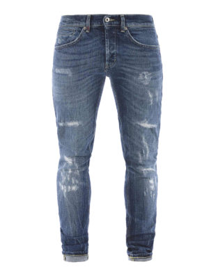 Dondup: straight leg jeans - George stretch denim slim jeans
