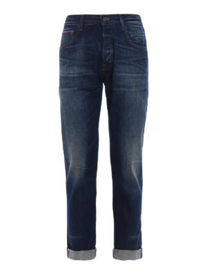 Dondup: straight leg jeans - Iconic faded cotton denim jeans
