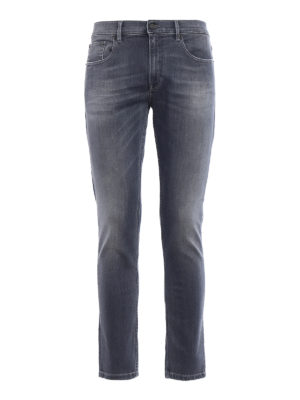 Dondup: straight leg jeans - Iconic faded grey cotton jeans