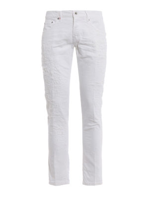 Dondup: straight leg jeans - Mius crushed jeans with rips