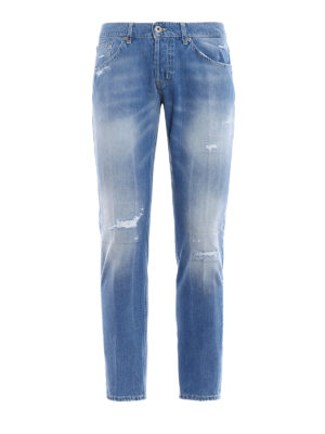 Dondup: straight leg jeans - Mius rip detailed jeans