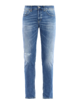 Dondup: straight leg jeans - Mius scraped jeans
