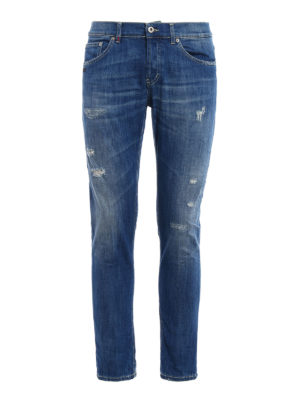 Dondup: straight leg jeans - Mius yellow stitch slim fit jeans
