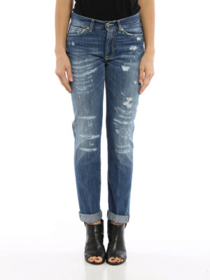 Dondup: straight leg jeans online - Silona worn out jeans