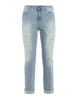Dondup: straight leg jeans - Paige worn out jeans