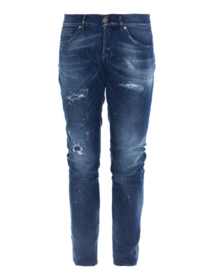DONDUP: straight leg jeans - Scrapings detailed denim jeans