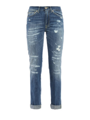 Dondup: straight leg jeans - Silona worn out jeans