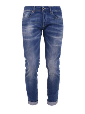 Dondup: straight leg jeans - Stone washed five pocket jeans